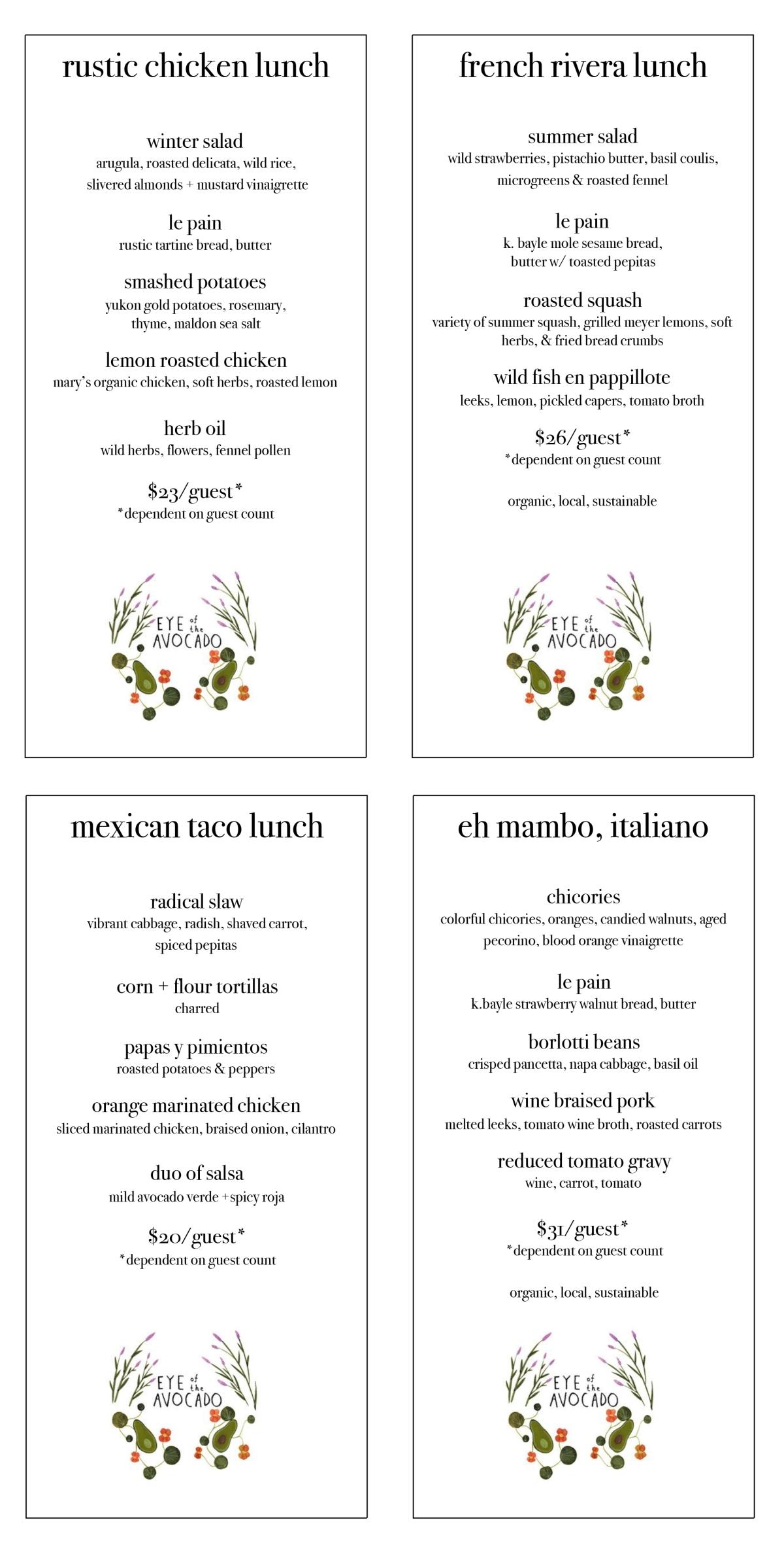 menus 2018